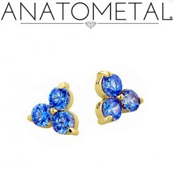 Anatometal 18kt Gold Trio Earrings 2mm Faceted Gems (Pair)