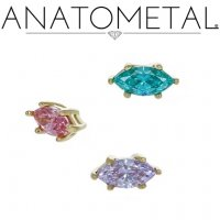 Anatometal 18kt Gold Prong-set Marquise Gem Threaded End Dermal Top 18g 16g 14g 12g 10g 8g