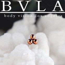 BVLA 14Kt Gold Tri Bead Cluster Threaded End Dermal Top 18g 16g 14g 12g Body Vision Los Angeles