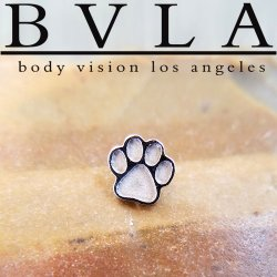 "BVLA 14kt Gold ""Paw Print"" Threaded End Dermal Top 18g 16g 14g 12g Body Vision Los Angeles"