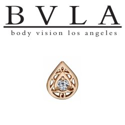 "BVLA 14kt Gold ""Kensington Pear"" Gem Threaded End Dermal Top18g 16g 14g 12g Body Vision Los Angeles"