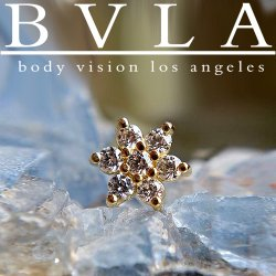 BVLA 14kt Yellow White Rose Gold 5mm Gem Flower Nostril Screw Nose Bone Nail Ring Stud 20g 18g 16g