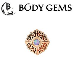 "Body Gems 14kt Gold ""Knot"" Threaded End Dermal Top 18 Gauge 16 Gauge 14 Gauge 12 Gauge 18g 16g 14g 12g"