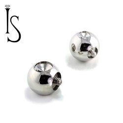 Industrial Strength Stainless Surgical Steel Threaded Dent Slave Balls 6 Gauge 6g