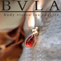 "BVLA 14kt Gold ""Beaded Pear"" 4mm x 2.5mm Threadless End (Beads on Point Side) 18g 16g 14g ""Press-fit"""