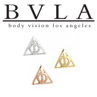 "BVLA 14kt Gold ""Deathly Hallows\"" Threadless End 18g 16g 14g \""Press-fit\"""