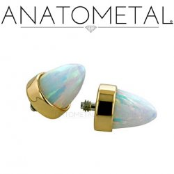 Anatometal 18Kt Gold Threaded Bullet-Cut Bezel-set Gem End 18g 16g 14g 12g