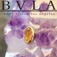 BVLA 14kt Gold Bezel-set Oval Cabochon 5mm x 3mm Threaded End Dermal Top 18g 16g 14g 12g Body Vision Los Angeles
