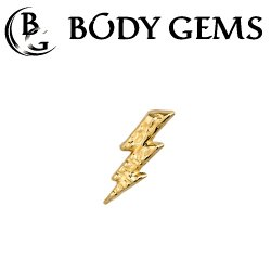 Body Gems 14kt Gold Hammered Lightning Threaded End Dermal Top 18 Gauge 16 Gauge 14 Gauge 12 Gauge 18g 16g 14g 12g