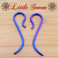 "Little Seven Niobium Small ""Nada"" Hanging Designs 12 Gauge 12g (Pair)"