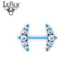 Le Roi Titanium Side-set Barbell 5-Gem Cluster 17 Bead Accents 14 Gauge 12 Gauge 14g 12g