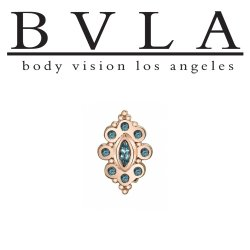 "BVLA 14kt Gold ""Marquise Angela"" Threaded End Dermal Top 18g 16g 14g 12g Body Vision Los Angeles"