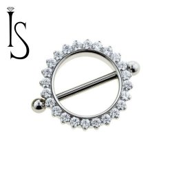 Industrial Strength Odyssey Titanium Prong-set Faceted Gem Nipple Shield 14g 12g
