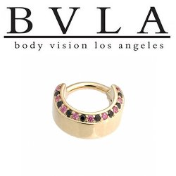 "BVLA 14kt Gold Chance VS Diamond/Emerald Nose Nostril Septum Hinge Ring 16g 5/16"" Body Vision Los Angeles"
