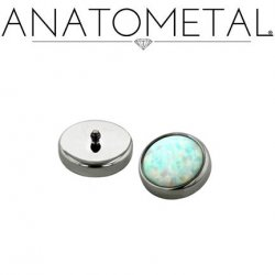 Anatometal Titanium Threaded 6mm Bezel-set Cabochon Gem End 14 Gauge 12 Gauge 10 Gauge 8 Gauge 14g 12g 10g 8g