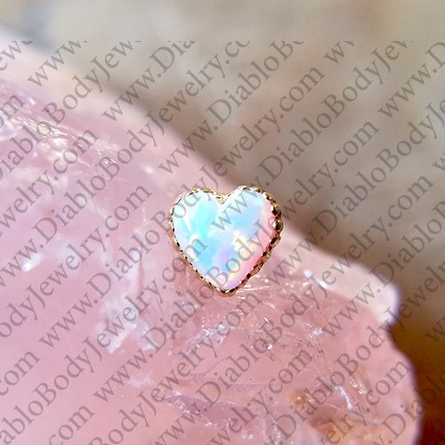 "Anatometal 18kt Gold Opal Heart threadless End 18 Gauge 18g ""Press-fit"" - Click Image to Close"