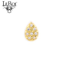 "LeRoi 14kt Gold 8 Stone Pave Pear Threadless End 18 Gauge 18g ""Press-fit"""