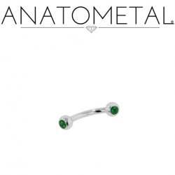 Anatometal Surgical Stainless Steel Gem Set Eyebrow Curved Barbell 16 Gauge 16g
