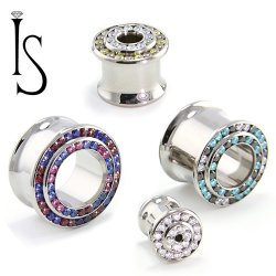 "Industrial Strength Titanium Double Flared ""Double Row"" Multi Gem Eyelets 2g - 1"""