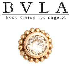 "BVLA 14kt Gold ""Beaded Choctaw"" 7mm Threaded End Dermal Top 4mm Diamond 18g 16g 14g 12g Body Vision Los Angeles"