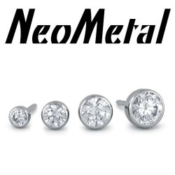 "18 Gauge 18g NeoMetal Threadless Titanium Bezel-Set Faceted Gem 1.5mm, 2mm, 2.5mm, 3mm ""Press-fit"""