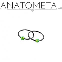 Anatometal Niobium Captive Ring with Titanium Bead 20 Gauge 18 Gauge 20g 18g