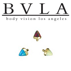 BVLA 14kt Gold Cup-set 4mm Bullet-cut Threaded End Dermal Top 18g 16g 14g 12g Body Vision Los Angeles