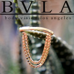 Body Vision BVLA 14kt Gold Dire Straights Nose Nostril Septum Ring Straight Wearing Surface 12 Gauge 12g