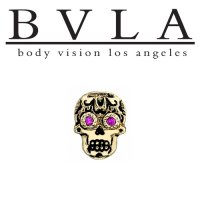 "BVLA 14Kt Gold ""Sugar Skull"" With Antiqued Finish Threaded End Dermal Top 18g 16g 14g 12g Body Vision Los Angeles"