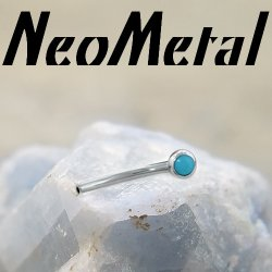 "18 Gauge 18g NeoMetal Threadless Titanium Fixed Side Cabochon Gem Curved Barbell Shaft ""Press-fit"""