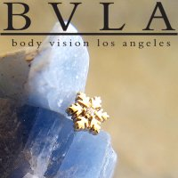 "BVLA 14kt Gold ""Snowflake\"" Genuine Diamond Threaded End Dermal Top 18g 16g 14g 12g Body Vision Los Angeles"