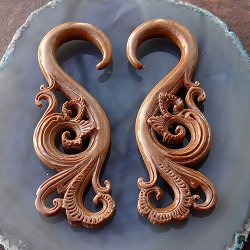 Fossilized Mammoth Tusk Filigree Hanging Design 6.5mm (One Pair)