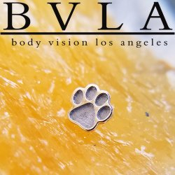 "BVLA 14kt Gold ""Paw Print"" Threadless End 18g 16g 14g ""Press-fit"""