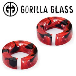 "Gorilla Glass Power Flat Saturns 2.5oz Ear Weights 3/4"" And Up (Pair)"