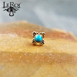 "LeRoi 14Kt Gold ""Zia"" Threadless End 18 Gauge 18g ""Press-fit"""