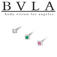 BVLA 14kt Yellow White Rose Gold Square Illusion Nostril Screw Nose Bone Ring Stud Nail 20g 18g 16g Body Vision Los Angeles