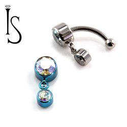 IS Titanium Fixed Top Bezel-set Faceted Gem Curved Barbell w/ 4mm Dangle 14 gauge 14g