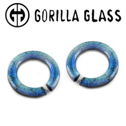 Gorilla Glass Fused Dichroic Round Saturns 0.5oz Ear Weights 00 Gauge 00g And Up (Pair)