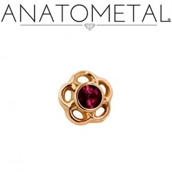 Anatometal 18kt Gold Threaded Large 7mm Tama Gem End 18g 16g 14g 12g