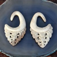 Antique Hand Carved Walrus Tusk Ear Hangers 2 Gauge 6mm (one pair)