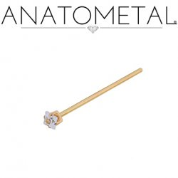 Anatometal 18kt Gold Princess-cut Gem Nostril Screw Nose Ring 20 Gauge 18 Gauge 20g 18g