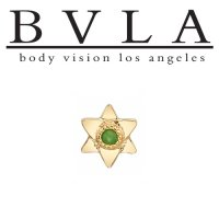 "BVLA 14Kt Gold ""Lotus"" with Flat Petals Threaded End Dermal Top 18g 16g 14g 12g Body Vision Los Angeles"