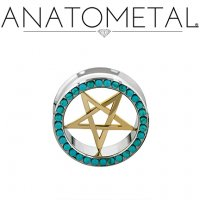 "Anatometal Stainless Steel Gemmed Eyelet Bronze Pentagram Insert 7/16"" to 7/8"""