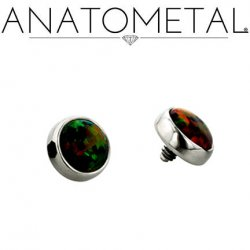 Anatometal Titanium Threaded 6mm Bezel-set Cabochon Gem End 6 Gauge 4 Gauge 6g 4g
