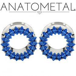 Anatometal Titanium Marquise-cut Multi-gem Bling Eyelet Tunnel 0 Gauge 0g to 7/8""