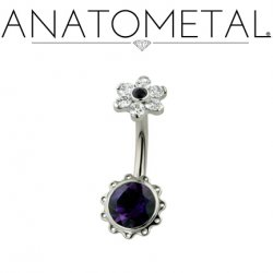 Anatometal Titanium Aurora Navel Curve Belly Button Ring 5.5mm Flower 14 Gauge 14g