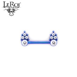 Le Roi Titanium Side-set Barbell 4-Gem Cluster 5 Bead Accents 14 Gauge 12 Gauge 14g 12g