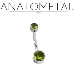 Anatometal Stainless Steel Gem Bezel Set Navel 14g 12g