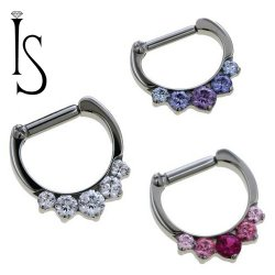 Industrial Strength Odyssey Titanium 5 Faceted Gem Septum Clickers 16g 14g 12g