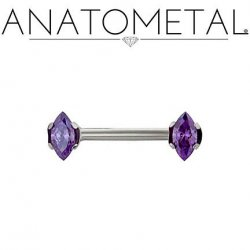 Anatometal Titanium Side-set Marquise-cut Gem Barbell 14 Gauge 12 Gauge 14g 12g